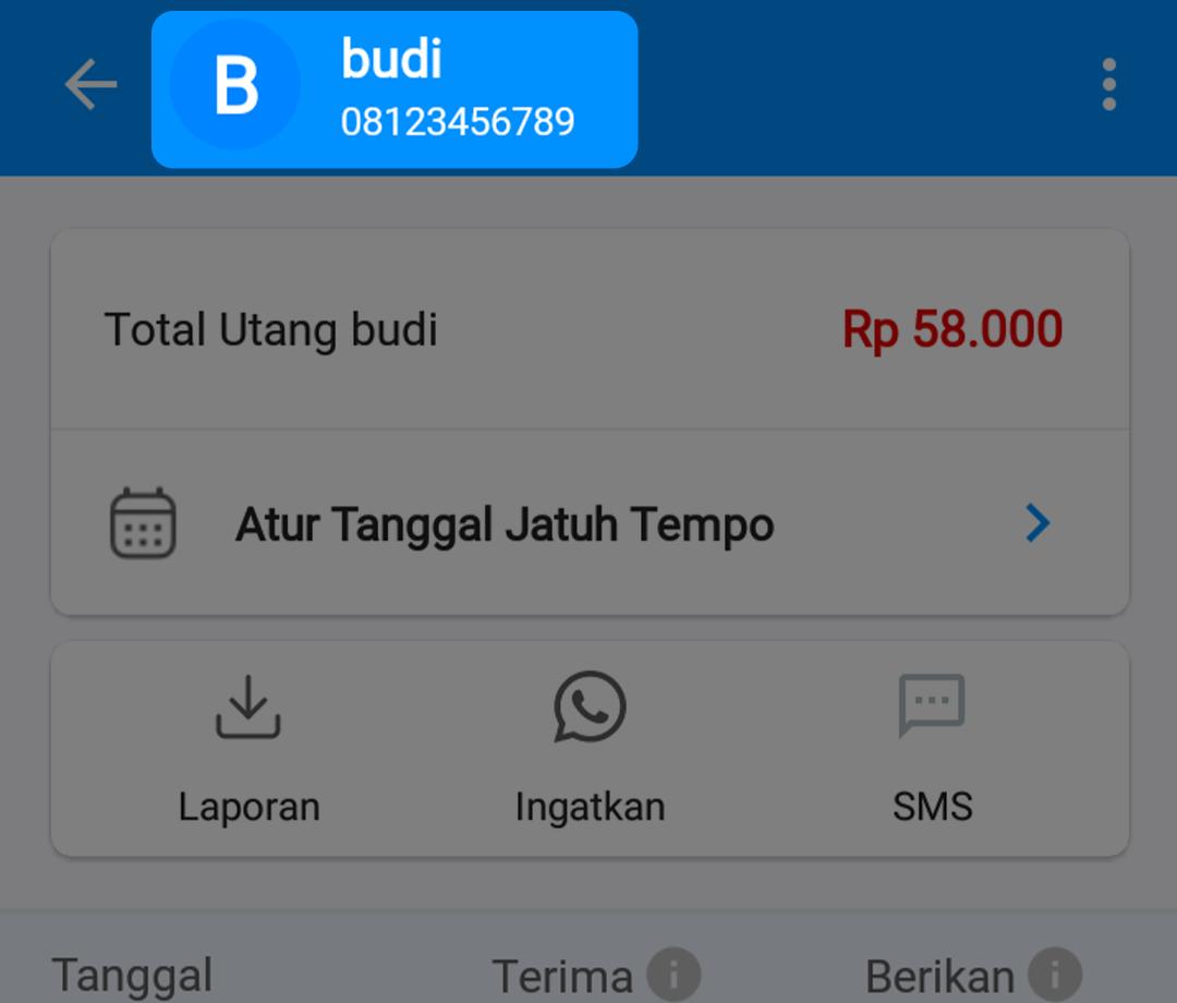 Klik Nama Pelanggan